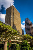 Garden trellis and buildings seen at Norman B. Leventhal Park in — Stock Photo