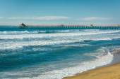The Pacific Ocean and fishing pier in Imperial Beach, California — Stock Photo