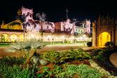 Garden and the Prado Restaurant at night, in Balboa Park, San Di — Stock Photo