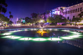 Pool and buildings at night in Balboa Park, San Diego, Californi — Stock Photo