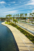 View of Rainbow Lagoon Park and Shoreline Drive in Long Beach, C — Stock Photo
