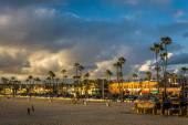 View of the beach at sunset, in Newport Beach, California — Stock Photo