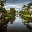 Houses and bridge along a canal in Venice Beach, Los Angeles, Ca — Stock Photo #66347059