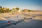 Vista de passarelas na praia, em Santa Monica, Califórnia. — Fotografia Stock