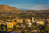 Evening light on on distant mountains and the city of Riverside, — Stock Photo