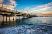The Belmont Pier at sunset, in Long Beach, California. — Stock Photo