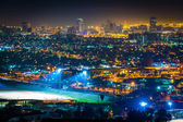 View of the Long Beach skyline at night, from Hilltop Park, in S — Stock Photo