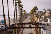 View of a street along the beach, in Oceanside, California. — Stock Photo