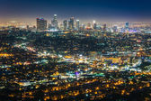 View of the downtown Los Angeles skyline at night, from Griffith — Stock Photo
