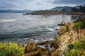 View of the Pacific Ocean from rocky bluffs at Point Lobos State — Stock Photo