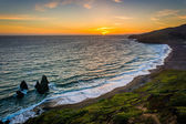 View of Rodeo Beach at sunset, at Golden Gate National Recreatio — Стоковое фото