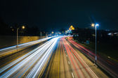 View of I-5 at night, from the Yeller Way Bridge, in Seattle, Wa — Stockfoto