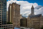 View of buildings in downtown Seattle, Washington. — Stockfoto