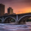 The Central Avenue Bridge and Mississippi River at sunset, in Mi — Stock Photo #74032987