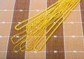 Golden necklaces — Stock Photo