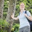 Happy Woman Hiking in the Alps — Stock Photo #52759401