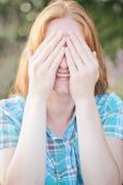 Woman Waiting for a Surprise — Stock Photo