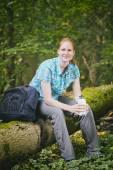 Recreational Hiker with Water Bottle in Nature — Foto de Stock