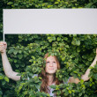 Woman with Message About Ecology or Nature — Stock Photo #54078539
