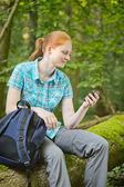 Woman Hiking with GPS Navigation — Stock Photo