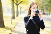 Amateur Photographer in a City Park — Stock Photo