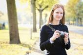 Hobby Photographer in the Fall — Stock Photo