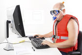 Funny businessman in diving mask and snorkel — Stock Photo
