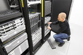 It engineer replace harddrive in datacenter — Stock Photo