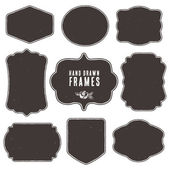 Set of vintage blank frames and labels. — Stock Vector