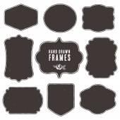 Set of vintage blank frames and labels. — Vector de stock