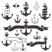 Vintage anchor with ribbon banners. — Stock Vector
