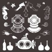 Diver and submarine. Vintage hand drawn elements in nautical style — Stock Vector