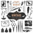 Vintage retro old things writer crafted collection — Stock Vector #55092907
