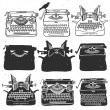 Retro old typewriter collection. — Stock Vector #55093115