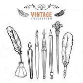Vintage retro old nib pen ink collection. — Stock Vector
