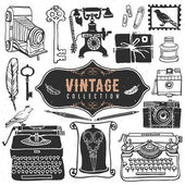 Vintage retro old things collection. — Stock Vector