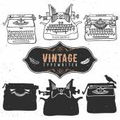 Vintage retro old typewriter collection. — Stock Vector