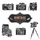 Vintage retro old camera collection — Stock Vector
