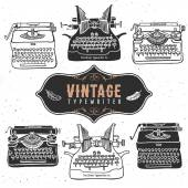 Vintage retro old typewriter collection — Stock Vector