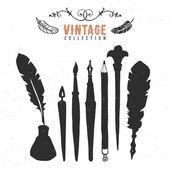 Vintage retro old nib pen brush ink collection. — Stock Vector
