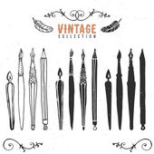 Vintage retro old nib pen brush ink collection. — Stock Vector
