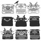Retro old typewriter collection. — Stock Vector