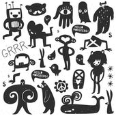 Vintage ink monsters and freaks — 图库矢量图片