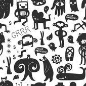 Vintage ink monsters and freaks — Vector de stock