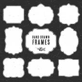Set of vintage chalk frames and labels — Stock Vector