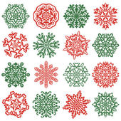 16 isolated snowflake icons. — Stock Vector