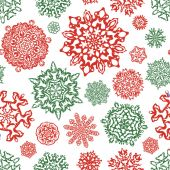 Seamless snowflake pattern in traditional christmas colors. — Stock Vector