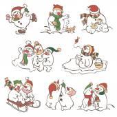 Cute Snowmen  illustrations. — Stock Vector