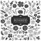 Vintage dekoratif bitki ve çiçek koleksiyonu — Stok Vektör