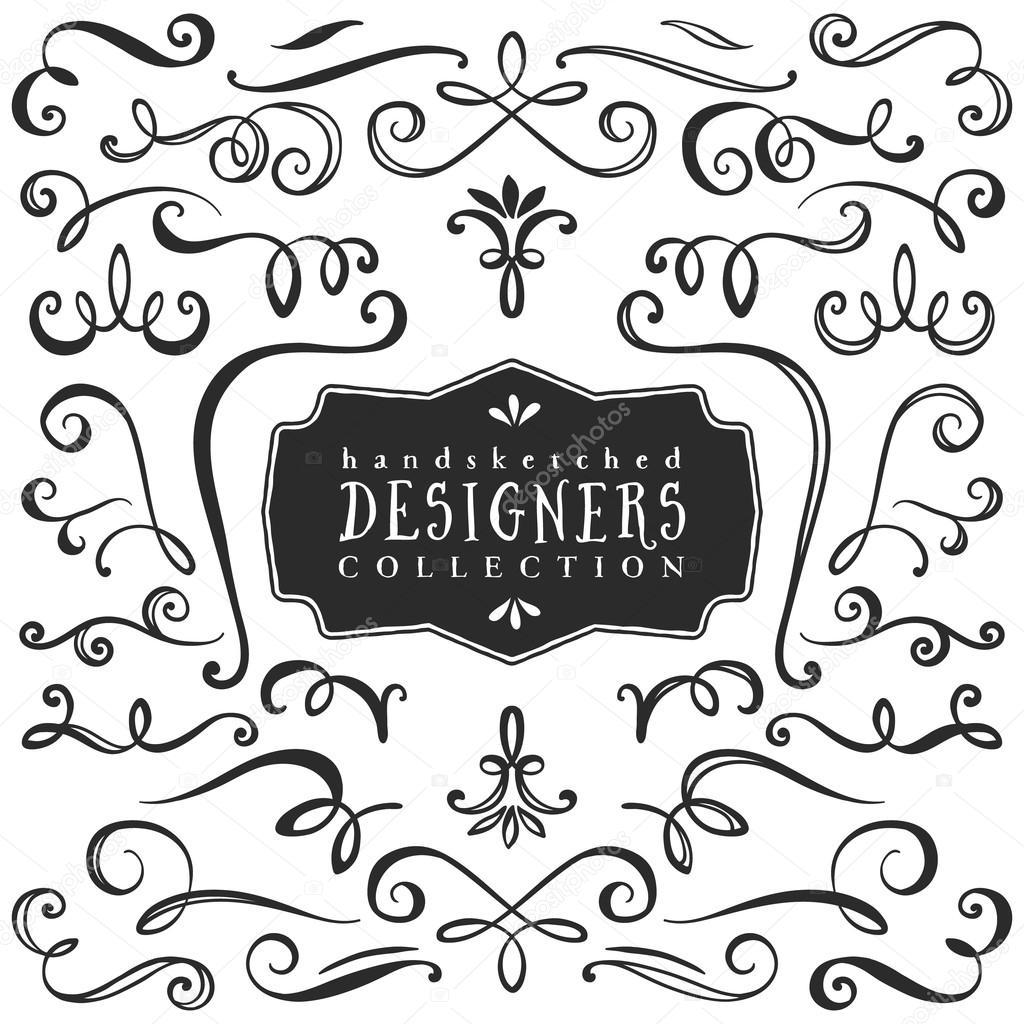 Vintage decorative curls and swirls collection — Stock ...